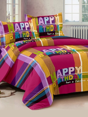 Story@ Home Multicolour 100% Cotton Forever 1 Double Bedsheet  With 2 Pillow Cover