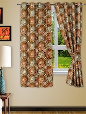 Brown Polyester Window Curtain Set Of Two - Story @ Home