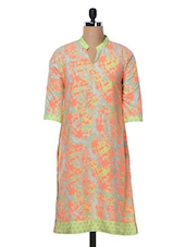 Quarter Sleeves Abstract Print Polycrepe Kurta - Free Living