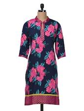 Quarter Sleeves Floral Print Polycrepe Kurta - Free Living