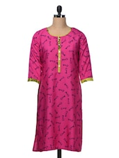 Quarter Sleeves Keys Printed Polycrepe Kurta - Free Living