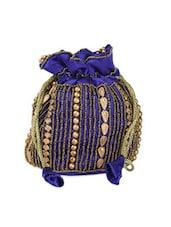 Blue With Golden Beaded Potli Bag - Anshul Fashion