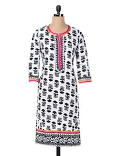 Cotton Black & White Printed Kurta - Inara Robes