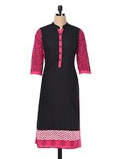 Black With Pink Printed Kurta - Inara Robes