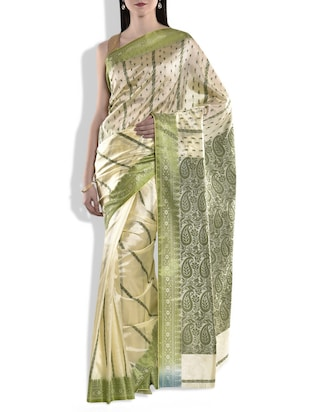 green, beige silk saree