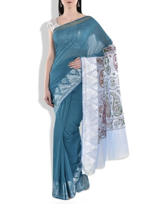 teal,white kora silk saree