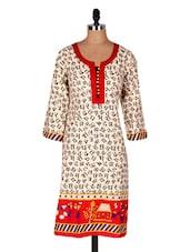 Beige Printed Cotton Kurti - Sale Mantra