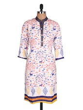 White & Blue Printed Cotton Kurti - Sale Mantra