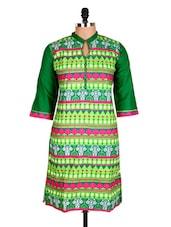 Green Aztec Printed Cotton Kurti - Sale Mantra