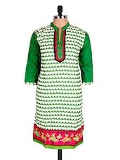 White & Green Geometric Print Cotton Kurti - Sale Mantra