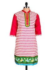 White & Pink Geometric Print Cotton Kurti - Sale Mantra