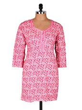 Pink Floral Printed Cotton Kurti - Sale Mantra