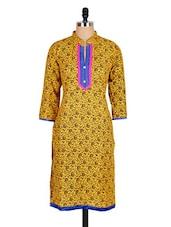 Yellow Paisley Printed Cotton Kurti - Sale Mantra