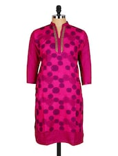 Pink Geometric Print Cotton Kurti - Sale Mantra