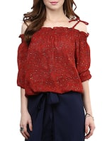 red poly georgette peasant  top -  online shopping for Tops