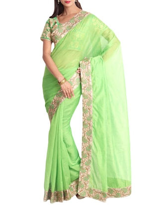 Kasturi-B Green Banarasi Silk Cotton Sari