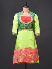 Cotton Embroidered Three-quarter Sleeve KURTI - Glam And Luxe