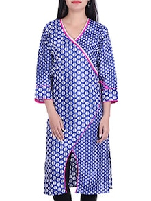 blue,white cotton kurta