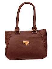 Brown  Leatherette Handbag - FOSTELO