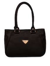 Black  Leatherette Handbag - FOSTELO