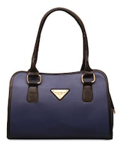 Navy Blue &Black Leatherette Handbag - FOSTELO