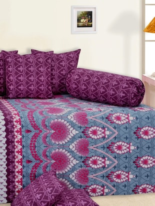 Salona Bichona 100 % Cotton Purple Printed Diwan Set