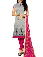 grey chanderi cotton unstitched suit -  online shopping for Unstitched Suits