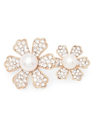 gold,white metal alloy,faux pearl brooch -  online shopping for Brooches