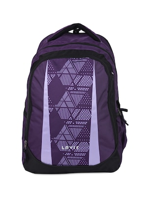 Purple Printed Polyester Backpack