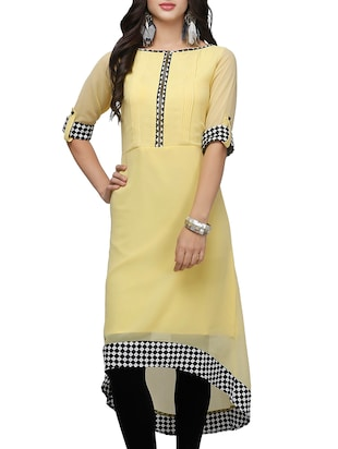 yellow poly georgette highlow kurta