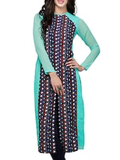 Turquoise Poly Crepe & Georgette Long  Kurta - By