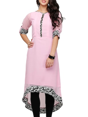 peach poly georgette high-low kurta