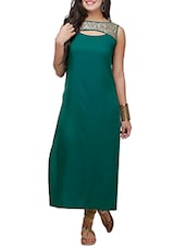 Teal Green Poly Crepe Long  Kurta - By