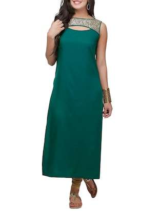 green crepe long kurta