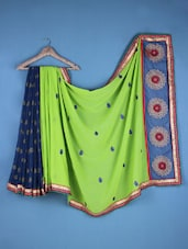 Green And Blue Georgette Embroidered Saree - Viva N Diva