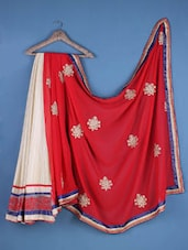 Red And Cream Georgette Embroidered Saree - Viva N Diva
