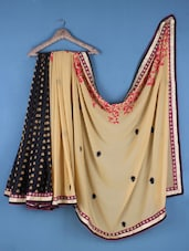 Beige And Black Georgette Embroidered Saree - Viva N Diva