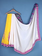 Cream And Yellow Georgette Embroidered Saree - Viva N Diva