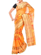 Floral Print Orange Cotton Saree - Mmantra