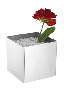 Cube shaped stainless steel Vase