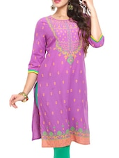 Purple Printed Cotton Kurta - Mytri