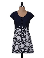 Navy Blue Floral Printed Polyester Dress - MOTIF