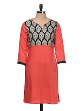 Red Ethnic Yoke Printed Cotton Kurta - MOTIF