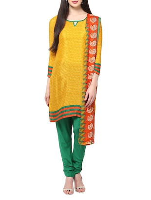 mustard cotton stitched suit
