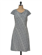 Navy & White Printed Poly Crepe Dress - MOTIF