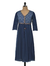 Navy Blue Ethnic Printed Cotton Kurta - MOTIF