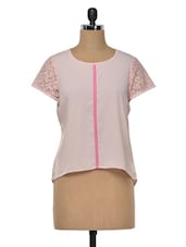 Pink Plain Poly Crepe Top - MOTIF