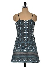 Multicolor Printed Poly Crepe Sleeveless Dress - MOTIF