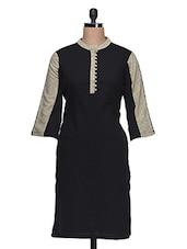 Black Quarter Sleeves Cotton Kurta - Aana