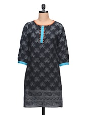 Round Neck Printed Black Cotton Kurti - Taaga